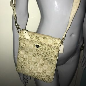 Creme & white satchel